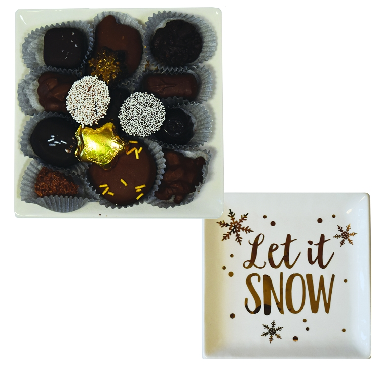 Golden Let it Snow Plate