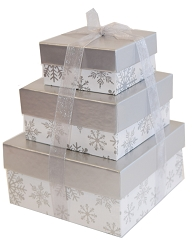 Three Tier Silver Snowflake Tower