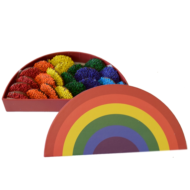 Rainbow gift box with rainbow non-pareils