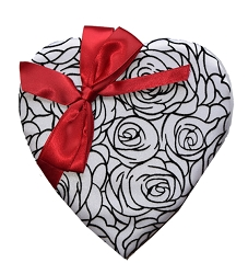 Black & White Rose Heart 8oz.